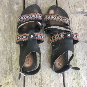 Free People Black Tribal Strappy Sandals